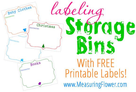 labeling storage bins with FREE printable labels