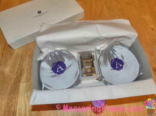 The belts were inside some lovely silk drawstring bags and the extra buckle in a small gift box.
