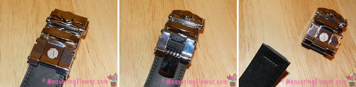 Something really neat about these belts is that the buckle is interchangeable. To change the buckle, there's a metal piece on the back that unclasps. Then the buckle slides right off, ready for the next buckle to easily be slipped on and snapped in place.