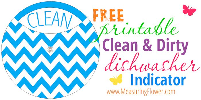 FREE Printable Clean & Dirty Dishwasher Indicator -- MeasuringFlower.com
