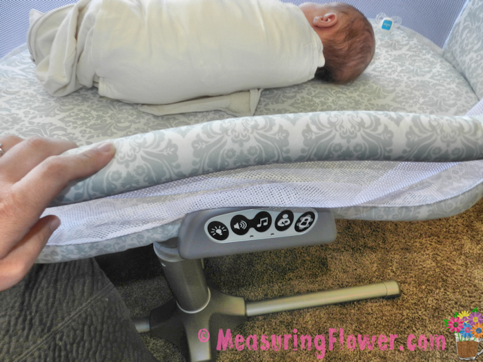 The front side of the Bassinest can be pushed to down, making it easier to pull baby out or put baby down.