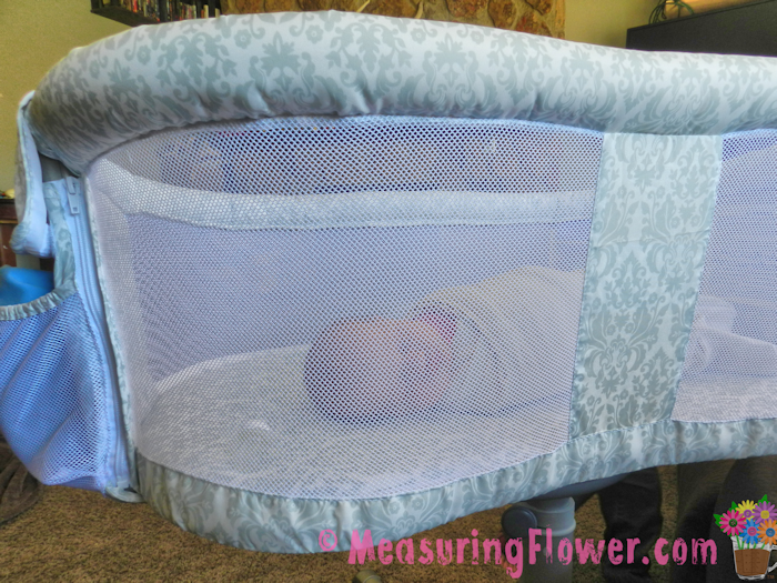 The sides of the Bassinest are made of mesh. This makes them breathable if baby wiggles to the side, plus it makes it handy to look in at the baby while laying down in bed.