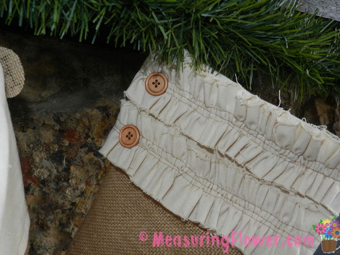 To embellish each stocking, I sewed on a couple of wooden buttons that I bought via Amazon.