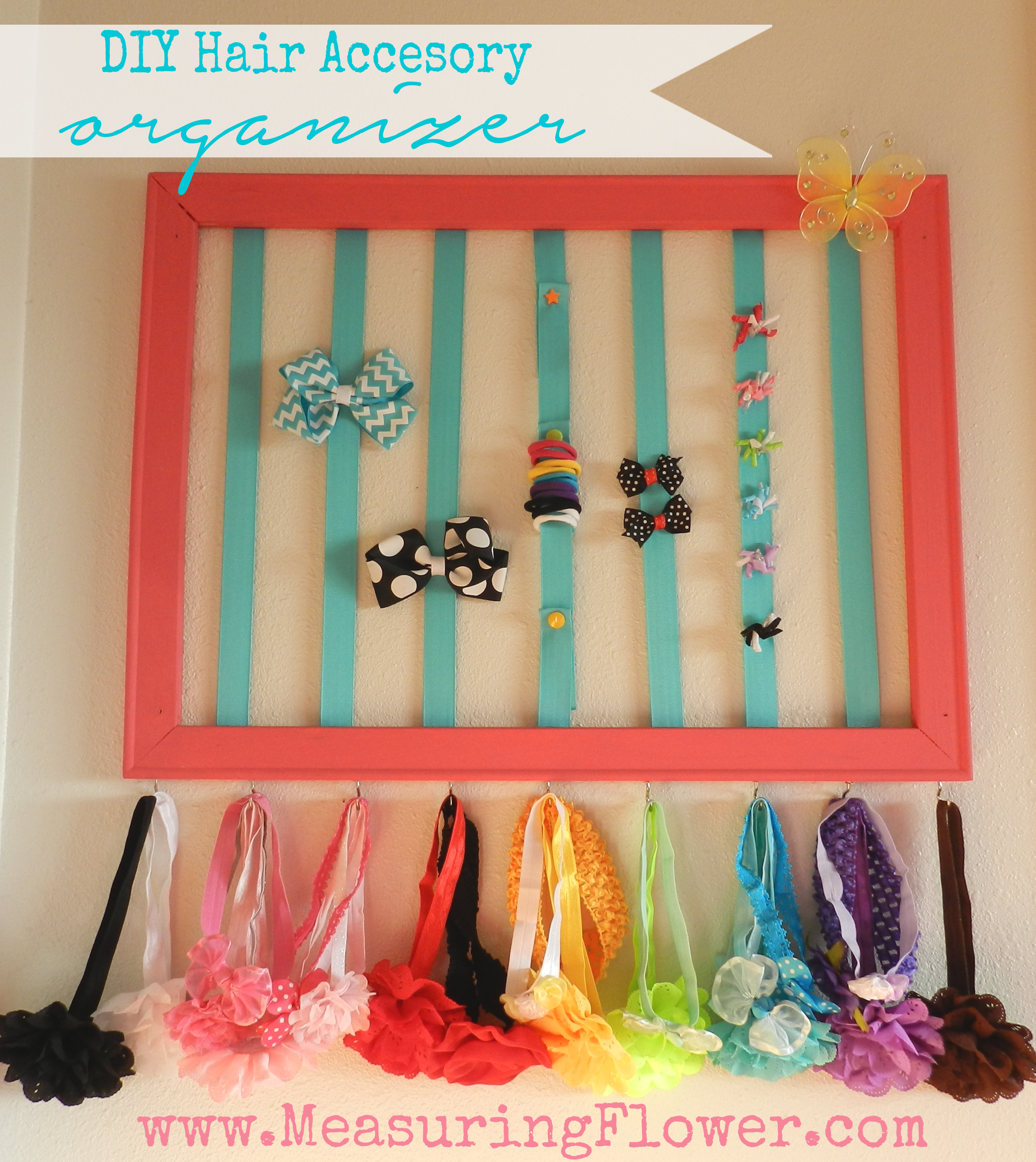 DIY Hair Accessory Organizer--MeasuringFlower.com