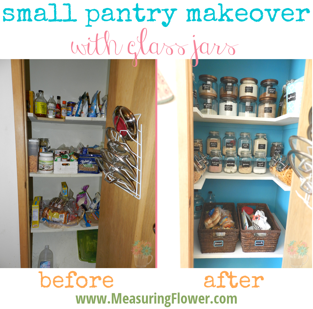 Small Pantry Makeover with Glass Jars MeasuringFlower.com