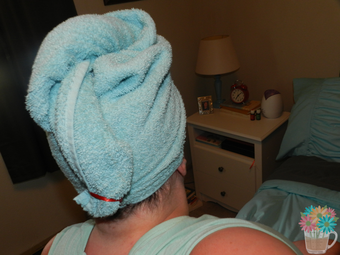 towel complete on head