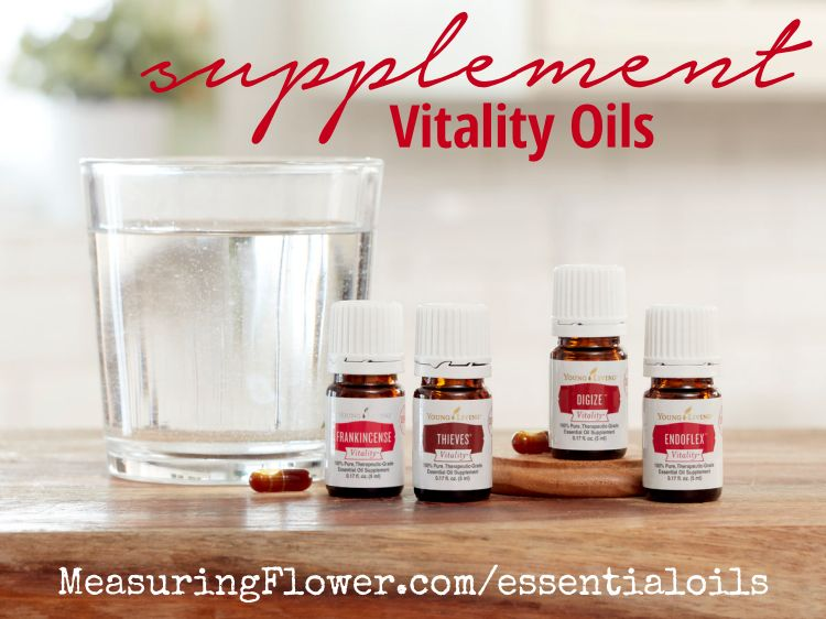 DiGize Vitality, EndoFlex Vitality, Frankincense Vitality, and Thieves Vitality