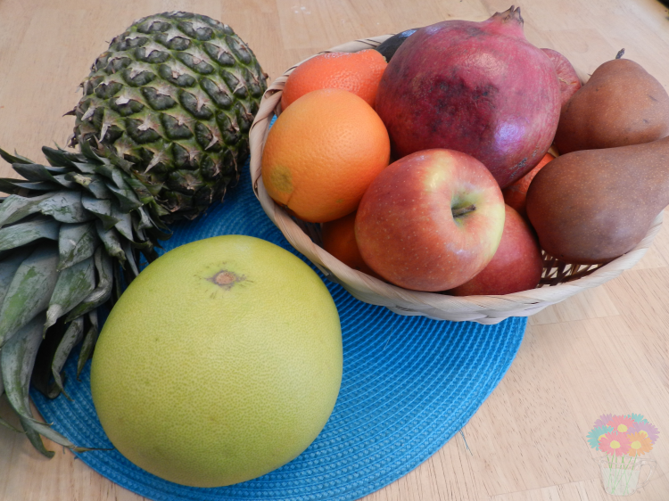 Pineapple, pummelo, pomegranate, tangelos, oranges, pears, apples!